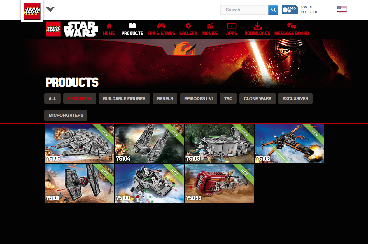 Star Wars Lego Website